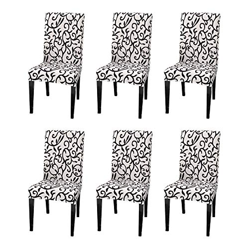 Argstar 6 Pack Chair Slipcovers for Dining Room Spandex Protector Covers for Kitchen Black White Pattern X_14