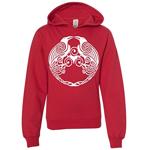 Dual Raven White Print Youth Sweatshirt Hoodie - Red Medium (What Does Red Roses Represent)