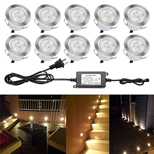 - Led Deck Lights Outdoor Waterproof Low Voltage Stainless Steel 1W Outdoor Yard Garden Decoration Lamps Landscape Pathway Patio Step Stairs Warm White LED In-ground Lights, Pack of 10 by QACA