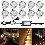 QACA LED Deck Light Low Voltage 1W Waterproof Outdoor Yard Garden Decoration Lamp Patio Stairs Landscape Underground LED Lighting Warm White (Pack 10pcs)