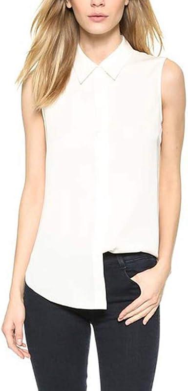 Camisas sin Mangas con Botones Camisa sin Tirantes con Capucha Causal para Mujeres (Color : White, tamaño : S): Amazon.es: Ropa y accesorios