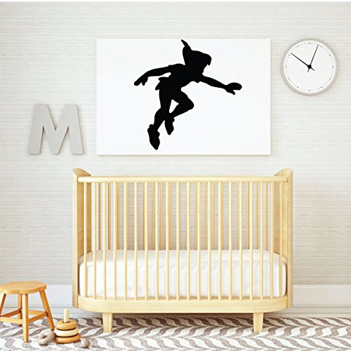 Peter Pan Wall Decal - Shadow - Disney Vinyl Sticker Silhouette for Kid's Playroom, Bedroom Decoration or Nursery (Birthday Decorations London)