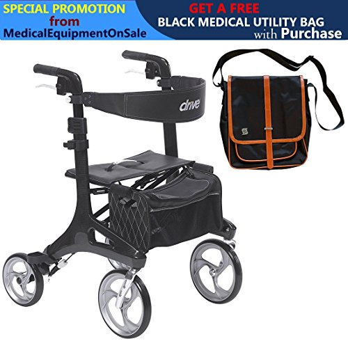 Fiber Drive - Drive Nitro Elite CF Carbon Fiber Walker Rollator, Black & FREE Black Medical Utility Bag With Trim! - #RTL10266CF