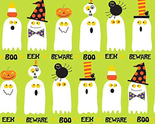 Clothworks Halloween Fabric (1 Yard Bonehead by Ellen Crimi-Trent from Clothworks Cotton Quilt Halloween Fabric Y2170-24 Olive)