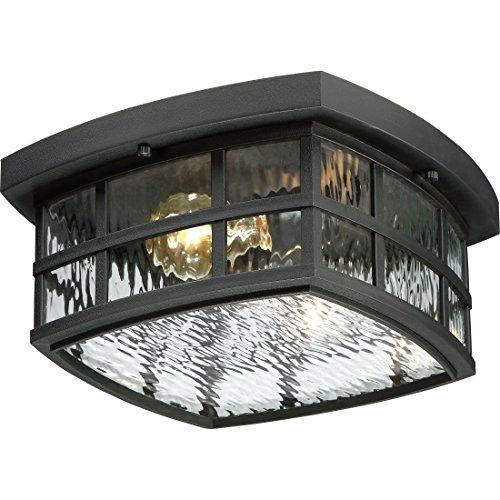 Quoizel SNN1612K Stonington Outdoor Flush Mount Ceiling Lighting, 2-Light, 120 Watts, Mystic Black (6