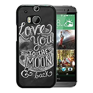 Popular And Lovely Designed Case For HTC ONE M8 With I Love You To The Moon And Back Black Phone Case