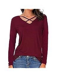kingfansion women top Long Sleeve V Neck T-Shirts Casual Criss Cross Blouse