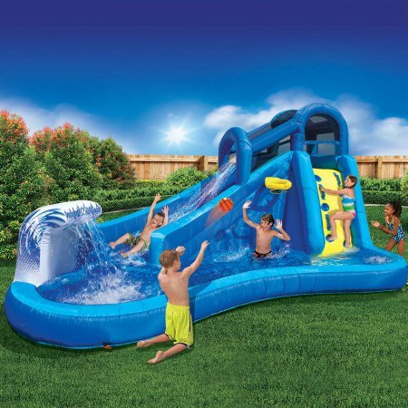 Best Outdoor Inflatable Waterslide for Kids | Banzai Surf 'N Splash Water Park Water Park Slide Splash
