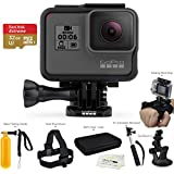 GoPro HERO6 (2017 Model) Black - w/SanDisk EXTREME 32GB Micro SDHC, w/A Deluxe Accessory Kit Bundle.