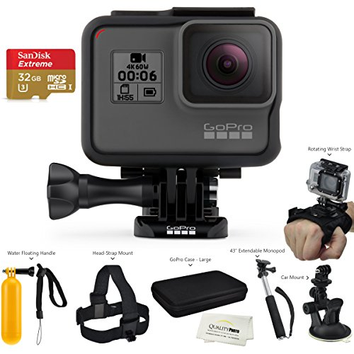 GoPro HERO6 Black (2017 Model) - w/SanDisk Extreme 32GB Micro SDHC, w/A Deluxe Accessory Kit - Helmet Mount Motorcycle 4 Gopro