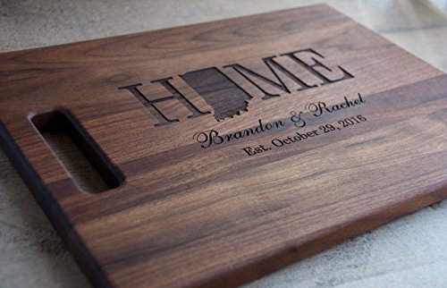 (Personalized Engraved Wooden Cutting Board With State Shape Choose from Walnut, Maple Or Cherry)