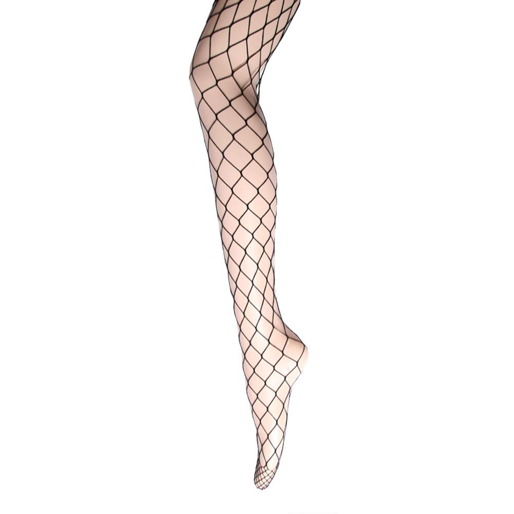 Women's Fishnet Tights Stockings - High Waist Sexy Fishnets Pantyhose for Party (Height: 5'0'' - 5'8'' / Weight: 100-180lbs, Black X-Large Mesh, 1 Pair)