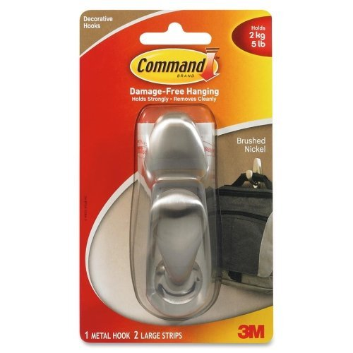 Wholesale CASE of 10 - 3M Command Forever Classic Hooks-Adhesive Metal Hooks,Large,w/2 Strips, Holds 5lbs., Nickel by 3M