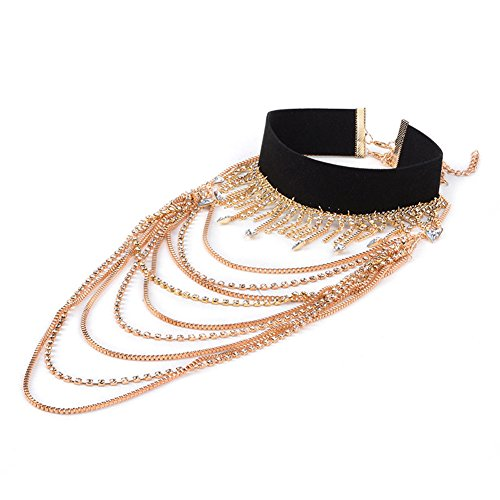 gaoyangyang new multi-element popular neck chain Alloy-studded multi-layer long necklace chain item cascading chain embellished waterfall multi-strand tassel (Element Strand Necklace)