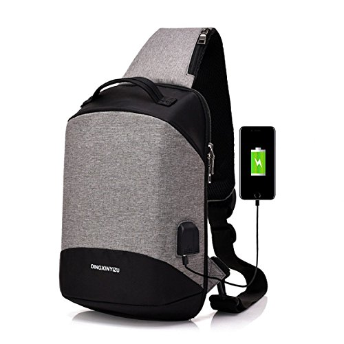 Bags Usb Daypack Rope Shoulder Sling For Crossbody Women Backpack Gray Men amp; With Bag Charging Chest Port Sxelodie wF1gBXqn