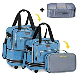 Biaggi Luggage Zipsak Boost Expandable Underseat Luggage, Foldable Spinner Carry On, Winter Blue