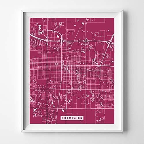 Amazoncom Champaign Illinois Map Print Street Poster City Road