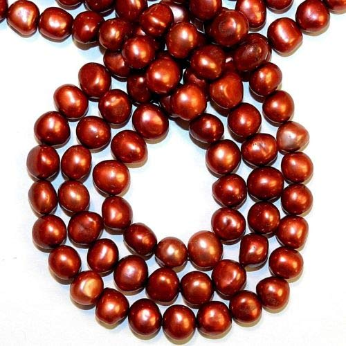 NP565 Red 8mm - 9mm Semi- Round Potato Cultured Freshwater Pearl Gemstone Beads Crafting Key Chain Bracelet Necklace Jewelry Accessories Pendants