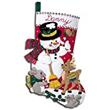 Bucilla Snowman & Friends Stocking Felt Applique Kit 18'' Long 84951