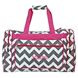 Personalized 20'' Chevron Print Womens Duffel Bags (Grey Chevron Pink Trim)