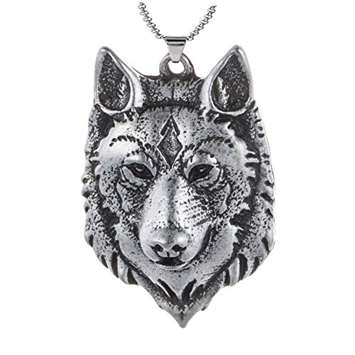 - Paw Paw House Mens Wolf Head Necklace Pendant for Dog Lover Men Norse Viking Warrior Arrow Headed Amulet Jewelry 4043