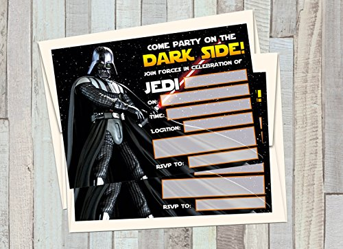 Star Wars Party Invitations (12 STAR WARS - DARTH VADER Birthday Invitations (12 5x7in Cards, 12 matching white)