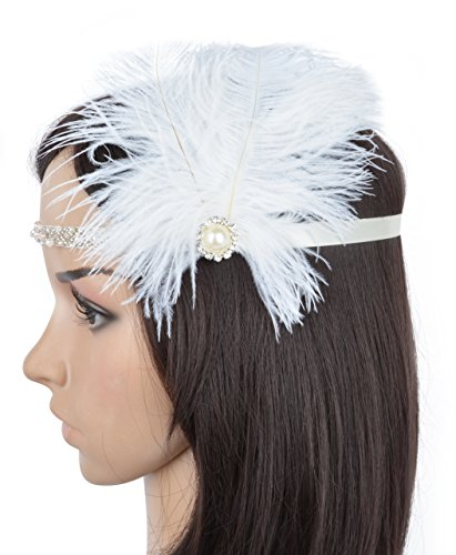Womens Fashion Retro Fascinator with Sequin and Feather K-White