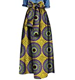 Abetteric Women's African Print Big Pendulum Bowtie Waist Party Long Skirt 12 L