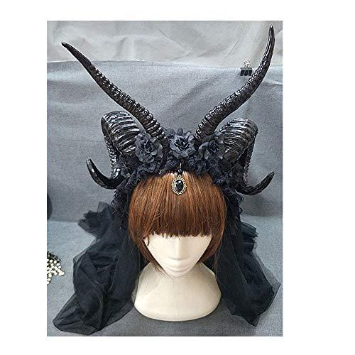 Pavian Punk Sheep Horns Headband Gothic Rose Lace Veil Hair Hoop Elf Devil Bridal Headpiece Halloween Christmas Cosplay Costume ()