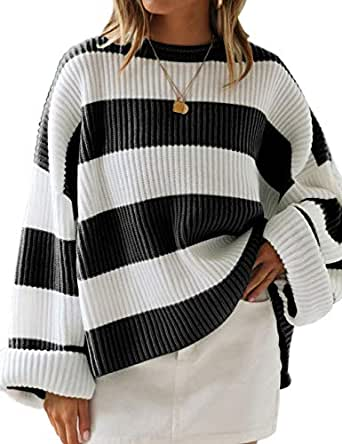 LEANI Women's Color Block Striped Oversized Sweaters Long Sleeve Crewneck Pullover Loose Chunky Knit Jumper Black