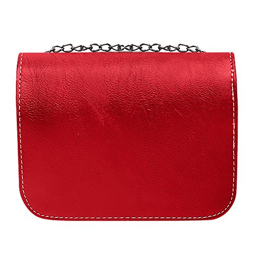 Chain Small Bag Handbags Vintage Red Leather PU Shoulder widewing Women q5xBYB