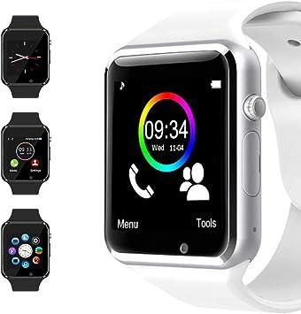 Bluetooth Smart Watch Reloj Inteligente Mujer Hombre Smartwatch Pantalla táctil con Ranura para Tarjeta SIM Cámara Podómetro Moviles Pulsera de Actividad para Android iOS (Blanco): Amazon.es: Electrónica
