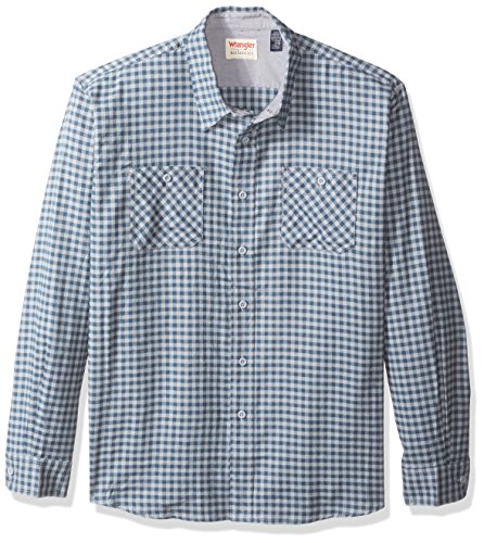 Gingham Flannel (Wrangler Authentics Men's Long Sleeve Flannel Shirt, Trade Winds Gingham, L)