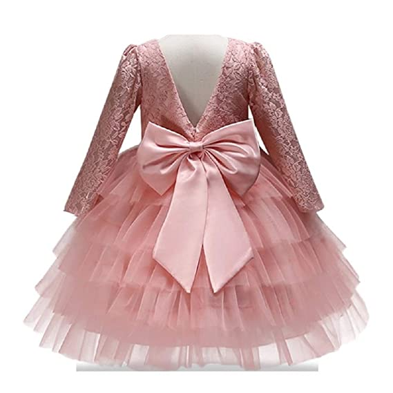 The London Store Baby Girl S Back Bow Pattern Red Peach Tulle Net Birthday Party Dresses For Kids 12 Months Peach Amazon In Clothing Accessories