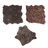 IndianShelf Handcrafted Set of 3 Piece Brown Wooden Stamp Paper Printing Textile Canvas Fabric Block