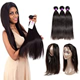 Ossilee Hair Mink Peruvian Hair Straight Pre Plucked 360 Lace Frontal with Bundles 8A Peruvian Straight Hair 360 Lace Frontal Closure with Bundles (26 26 26+20 360frontal, Natural Color) For Sale