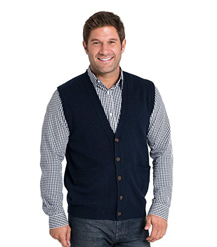 WoolOvers Mens Lambswool Knitted Vest Navy, M