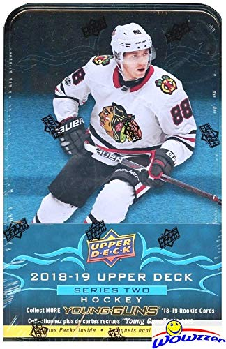 2018/19 Upper Deck Series 2 NHL Hockey EXCLUSIVE MASSIVE Factory Sealed Collectors TIN with 12 Packs & Special JUMBO Card! Includes 3 YOUNG GUN ROOKIES & Special ROOKIE Commence Card! Hot! WOWZZER