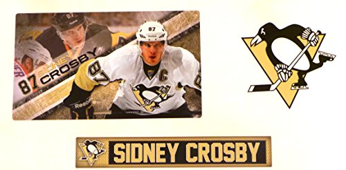 "Sidney Crosby Mini FATHEAD Pittsburgh Penguins Logo Set Official NHL Vinyl Wall Graphics 10"" INCH MURAL"