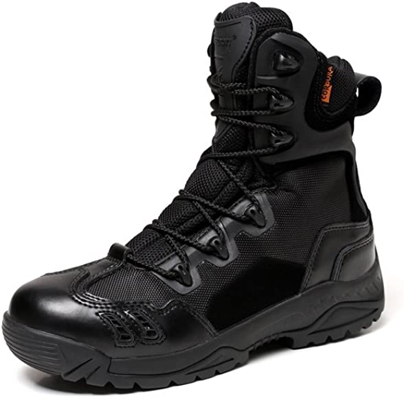 CHEJI-omrico Mens 8 Inch Military and Tactical Boot with Side Zipper Black