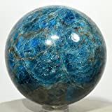2.4'' Rich Blue Apatite Sphere Sparkling Natural Mineral Polished Ball Quartz Crystal Stone - Madagascar + Plastic Stand (#2)