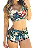 QingLemon Women Two Piece Boyleg Short Swimsuits Sporty Bathing Swimwear(FBA)