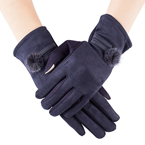 GLV092-Women's Elegant Warm Winter Touch Screen Gloves with Suede top and pom pom in Navy (Lady In The Navy Gloves)