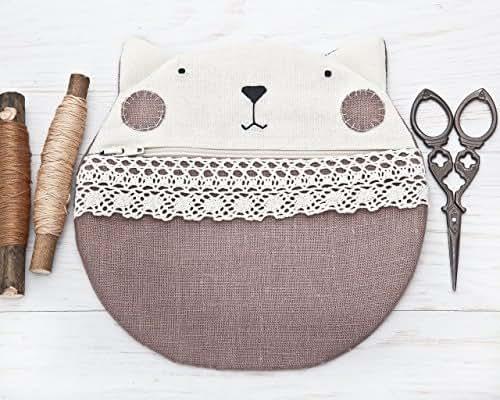 Beige Cosmetic Bag, Beige Bridesmaid Gift, Cat Pencil Case, zipper travel pouch, Zipped Purse, Handmade Makeup Bag, Travel Bag, Cats Clutch, Gifts for Women