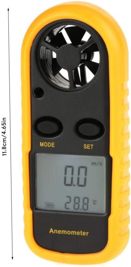 WXQ-XQ Digital Handheld Anemometer Digital Wind Speed Gauge Wind Speed Meter Air Flow Speed Temperature Accurately Measure Thermometer with LCD Backlight for Surfing Fishing Shooting HVAC