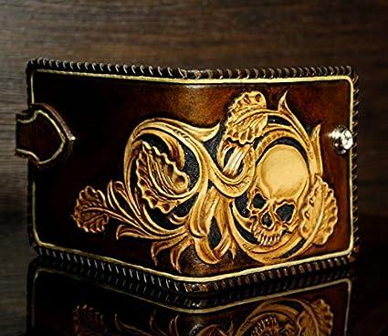b763c9d46 Amazon.com : Skull Wallet, Sheridan Style, Leather Wallet, 3D Genuine  Leather Wallet, Hand Carved, Leather Carving, Carving Wallet : Everything  Else