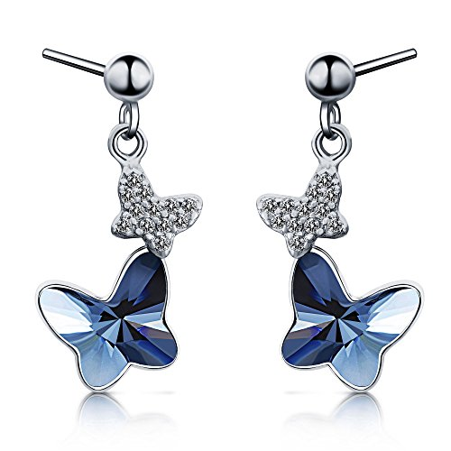 Sterling Silver Blue Butterfly Earrings, T400 Drop Stud Earrings Made with Swarovski Element Crystals Gift by T400