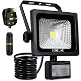 Security Light LED Lighting PIR Lights Motion Sensor Outdoor Lamp Floodlight with Plug and Junction Box for Wall Garden Outside Front Door 10W Floodlights SOMELINE