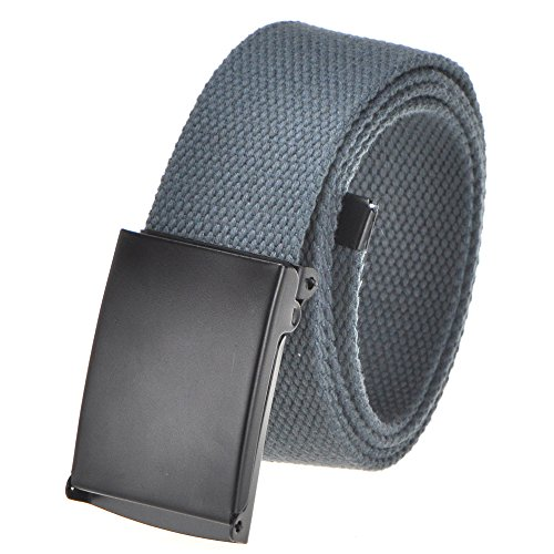 "Cut To Fit Canvas Web Belt Size Up to 52"" with Flip-Top Solid Black Military Buckle (16 Color and Combo Pack Options) (Dark Grey)"
