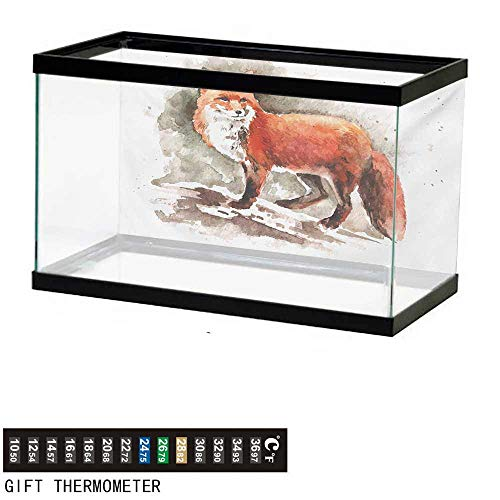 "Aquarium Background,Fox,Watercolor Hand Drawn Red Fox with Bushy Tail Brushstrokes Tod Mammal,Burnt Sienna White Brown Fish Tank Backdrop 48"" L X 18"" H"